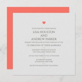 Coral Heart Wedding Square Invitation