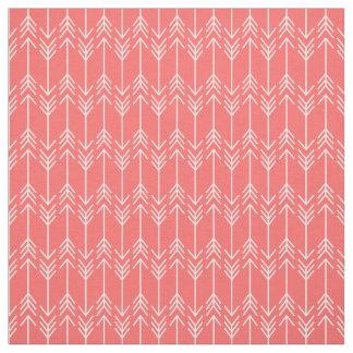 Coral Herringbone Arrows Fabric