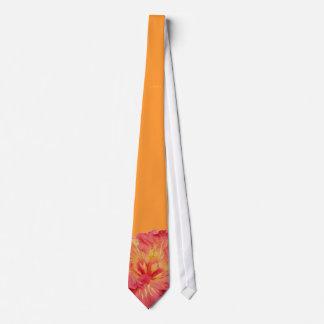 Coral Hibiscus Wedding Tie
