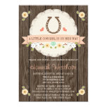 CORAL HORSESHOE WESTERN COWGIRL BABY SHOWER INVITATION