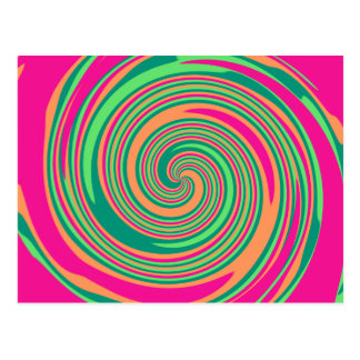 Coral Hot Pink Green Whirlpool Swirl Lollipop Desi Postcard