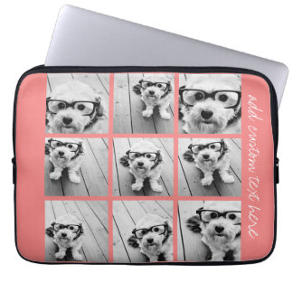 Coral Instagram Photo Collage with 9 photos Laptop Sleeve