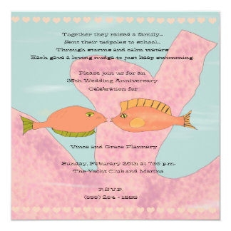 Coral & Kissing Fish 35th Anniversary Invitation
