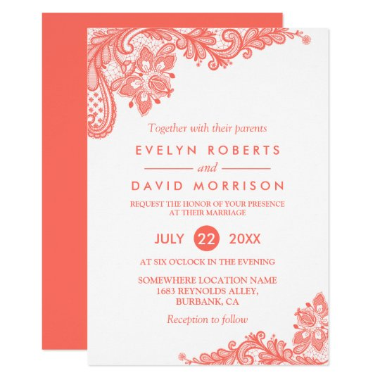 Coral Lace Floral Elegant Chic Wedding Invitation