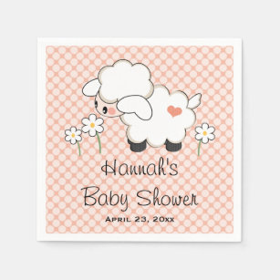 Coral Lamb Baby Shower Disposable Napkin