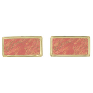 Coral Lava Gold Finish Cuff Links