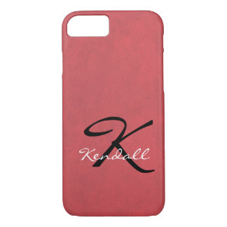 Coral Leather Monogram iPhone 7 Case
