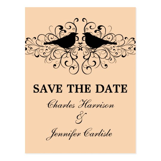 Coral Love Bird Swirls Save the Date Postcard