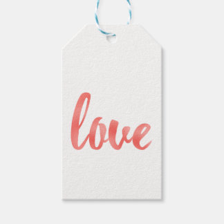 Coral love favor tags, foil, vertical