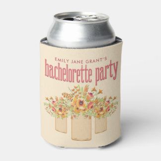 Coral Mason Jar Floral Bachelorette Party Can Cooler