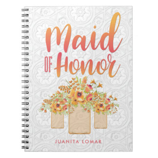 Coral Mason Jar Floral Maid of Honor Spiral Notebook