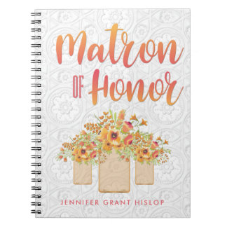 Coral Mason Jar Floral Matron of Honor Notebooks