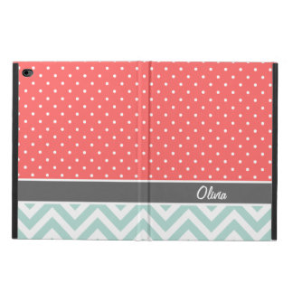 Coral Mint and Gray Chevron Dots Monogram Powis iPad Air 2 Case