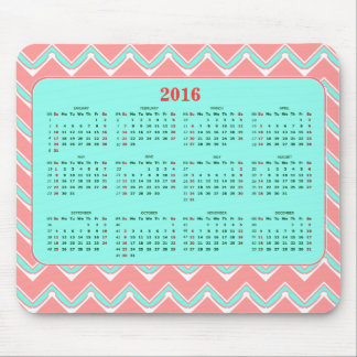 Coral, Mint and White Chevron  Calendar 2016 Mouse Pad