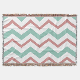 Coral & Mint Chevron Throw Blanket