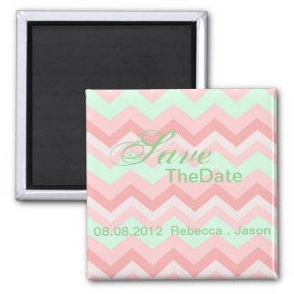 coral mint chevron wedding save the date magnets