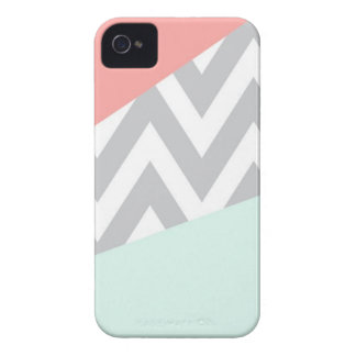 Coral & Mint Color Block Chevron iPhone 4 Cover