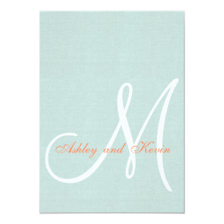 Coral Mint Green Linen Rustic Wedding Invitation
