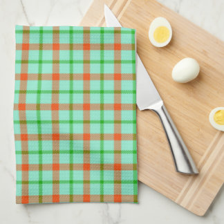 Coral Mint Green Plaid Kitchen and Bath Towel