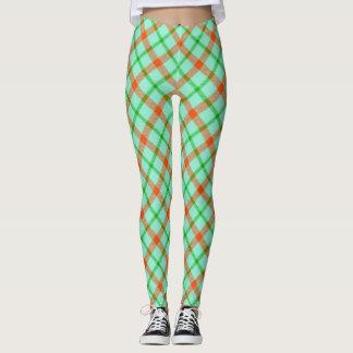 Coral Mint Green Plaid Leggings
