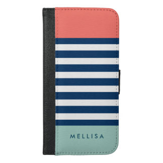 Coral Mint Navy White Stripes - Trendy Stylish iPhone 6/6s Plus Wallet Case