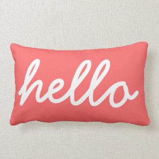 Coral Modern Hello Throw Pillow