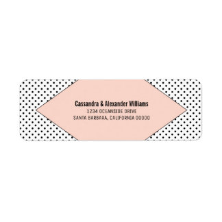 Coral Modern Polka Dots Wedding Return Address Label
