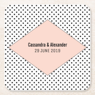 Coral Modern Polka Dots Wedding Square Paper Coaster