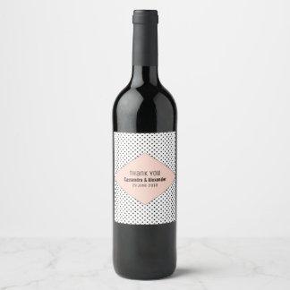 Coral Modern Polka Dots Wedding Wine Label