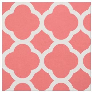 Coral Modern Quatrefoil Large Scale Fabric