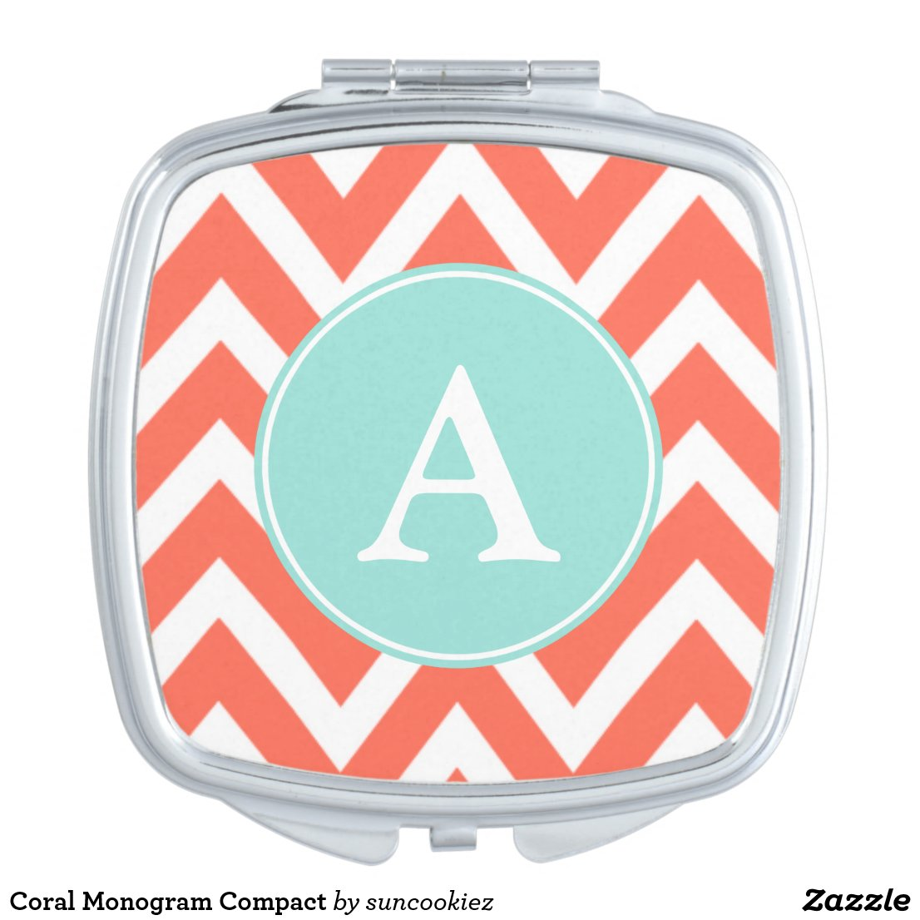 Coral Monogram Compact Mirror
