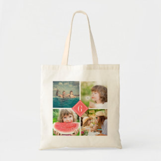 Coral Monogram Instagram Photo Collage Budget Tote Bag
