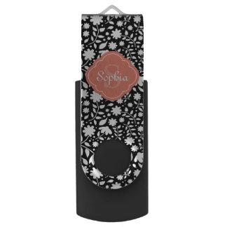 Coral Monogram Quatrefoil Black Floral Pattern USB Flash Drive