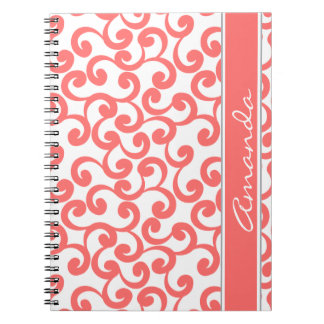 Coral Monogrammed Elements Print Notebooks
