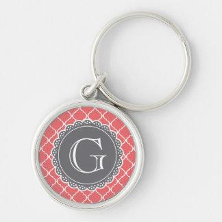 Coral Moroccan Lattice Pattern Grey Monogram Key Chains