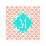 Coral Moroccan Pattern with Turquoise Monogram Stretched Canvas Prints