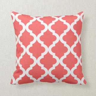 Coral Moroccan Quatrefoil Print Cushion