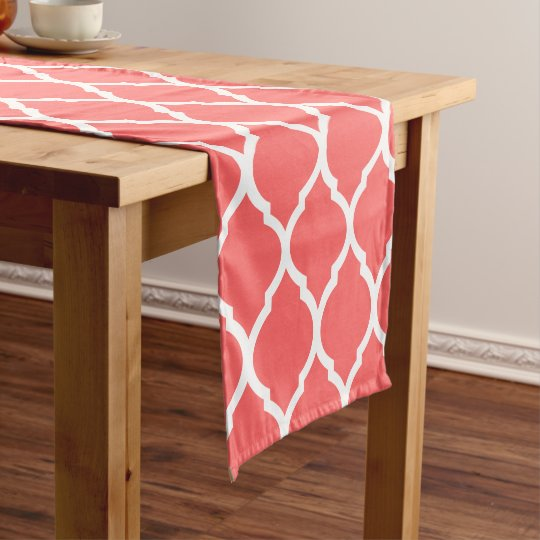 Coral Moroccan Quatrefoil Short Table Runner