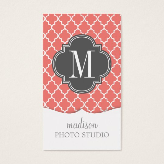 Coral Moroccan Tiles Lattice Personalised Business Card