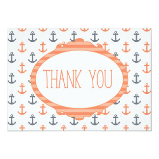 Coral Nautical Anchor Beach Orange Thank you Card