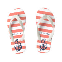 Coral Nautical Anchor Girls Flip Flops