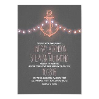 coral nautical chalkboard anchor wedding card