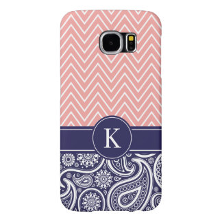 Coral Navy Blue Chevron Paisley Monogram Pattern Samsung Galaxy S6 Cases