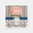 Coral Navy Blue Monogrammed Hydrangea Mason Jar Disposable Napkin