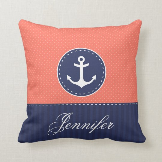 Coral Navy Blue Nautical Anchor Design Custom Name