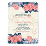 Coral Navy Blue Vintage Floral Wedding Invitation