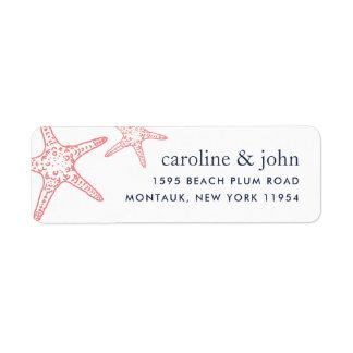 Coral & Navy Starfish Return Address Return Address Label