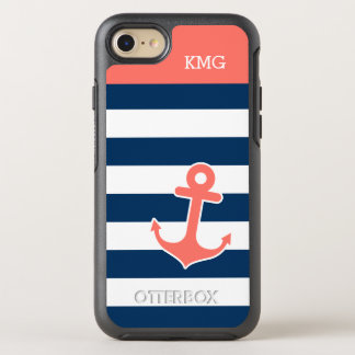 Coral Navy Striped Nautical Anchor Monograms OtterBox Symmetry iPhone 8/7 Case