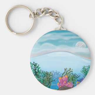 Coral Ocean Basic Round Button Key Ring