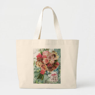Coral on Misty Green Large Tote Bag